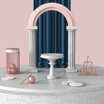 Escenario de podio para producto de exhibición o cosmético en piso de concreto y mármol con cortina azul real detrás de escena