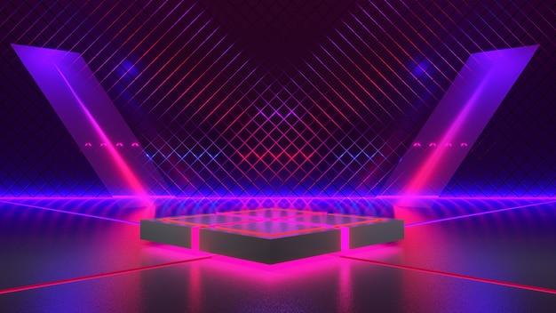Escenario rectangular con luz de neón, fondo futurista abstracto, concepto ultravioleta, render 3d