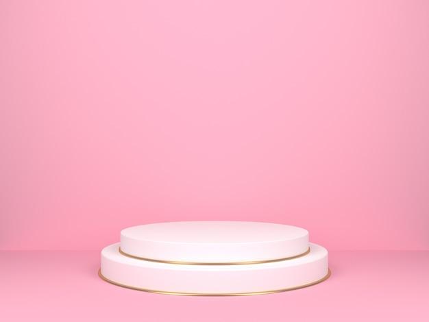 Escenario redondo blanco sobre fondo rosa. telón de fondo para exhibición de productos. representación 3d
