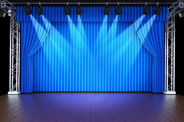 Escenario de teatro con cortinas y focos.