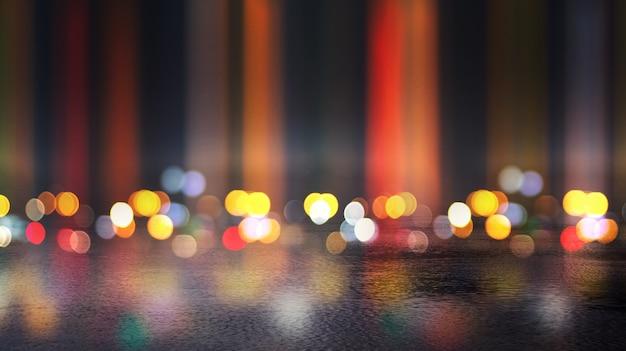 Escenario vacío oscuro, rayos multicolores de reflector de neón, asfalto mojado, humo, disparos nocturnos, color bokeh.