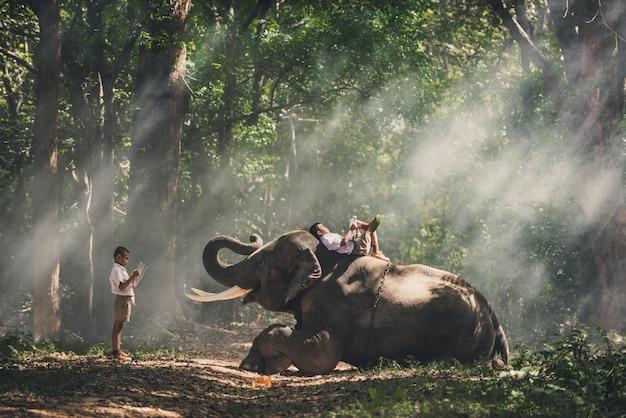 Escolar estudiando en la selva con su amigo elefante