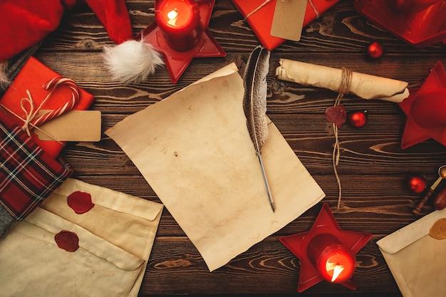 Escribir una carta a santa composiiton en estilo vintage con pluma