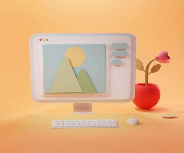 Escritorio con computadora y símbolo de imagen en la pantalla