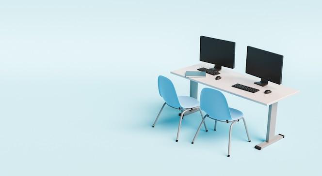 Escritorio de la escuela con computadoras