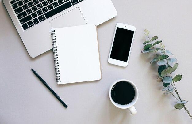 Escritorio del espacio de trabajo plano con teléfono inteligente, portátil, portátil y planta