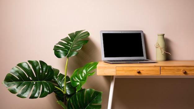 Escritorio de madera con laptop y planta.