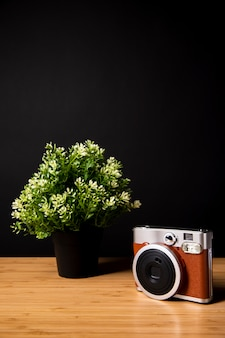 Escritorio de madera con planta y cámara.