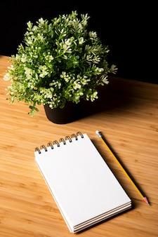 Escritorio de madera con planta y cuaderno.