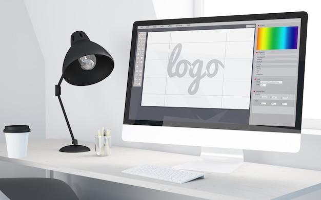 Escritorio mínimo con computadora de software de diseño de logotipos. representación 3d