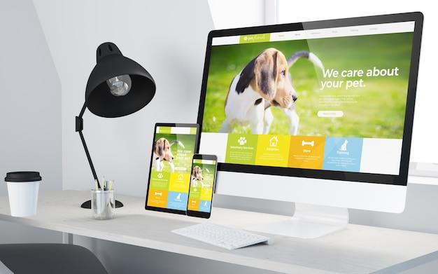 Escritorio mínimo con sitio web veterinario receptivo en dispositivos renderizado 3d