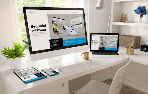 Escritorio de la oficina en casa que muestra la representación 3d del creador de diseño web