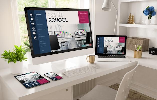 Escritorio de la oficina en casa que muestra la representación 3d del sitio web de la escuela en línea