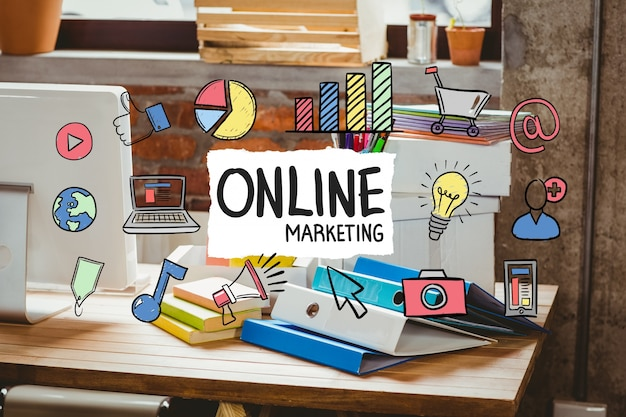 Escritorio de oficina con el concepto de negocio de marketing online