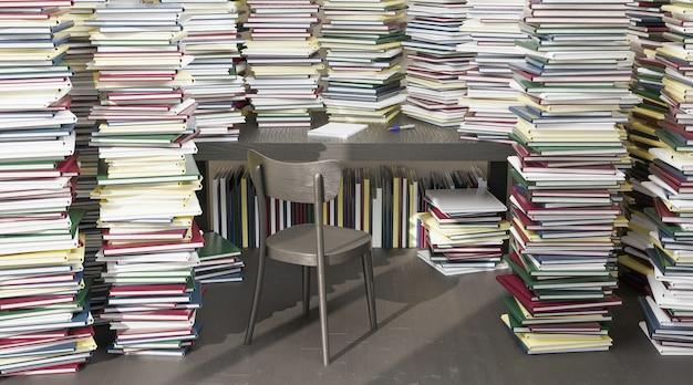 Escritorio con silla rodeado de muchos libros apilados alrededor