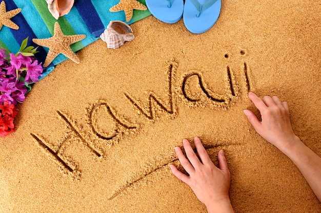 Escritura de la playa de hawaii
