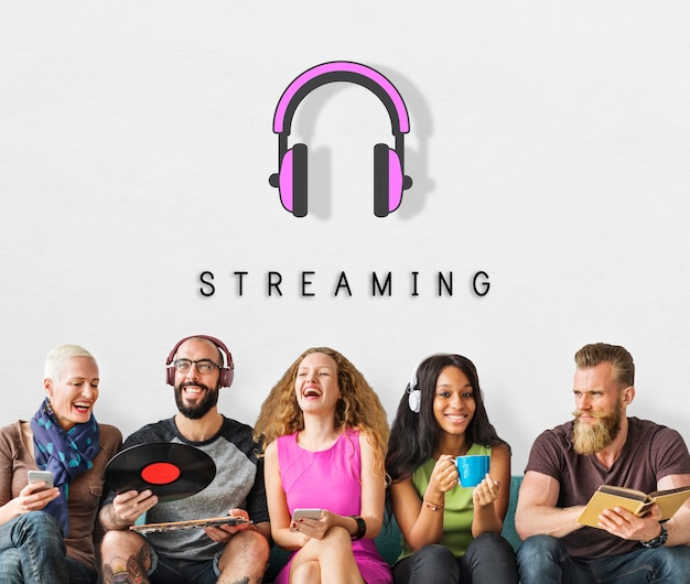 Escuchar música de audio de auriculares concepto gráfico