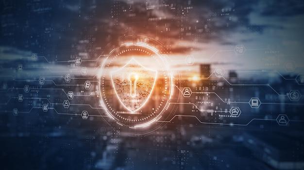 Escudo de datos digitales de seguridad cibernética