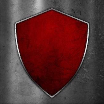 Escudo de grunge 3d sobre fondo de metal rayado