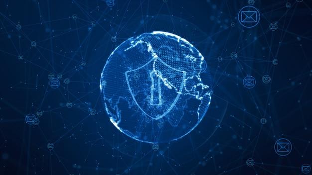 Escudo e icono de correo electrónico en una red global segura