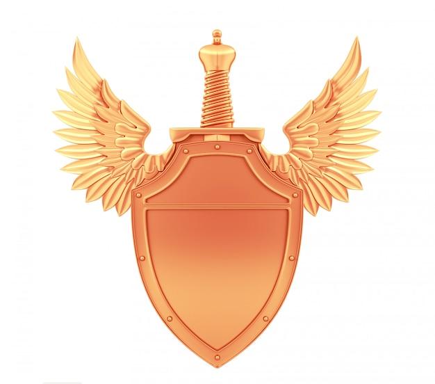 Escudo de metal de bronce con alas y espada, renderizado 3d