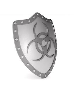 Escudo metálico con símbolo de riesgo biológico en blanco.