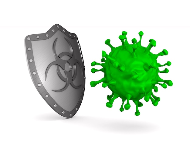 Escudo metálico con símbolo de riesgo biológico y virus en blanco.