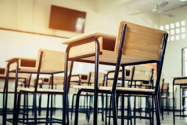 Escuela vacía aula aula con escritorios sillas de madera de hierro para estudiar la lección