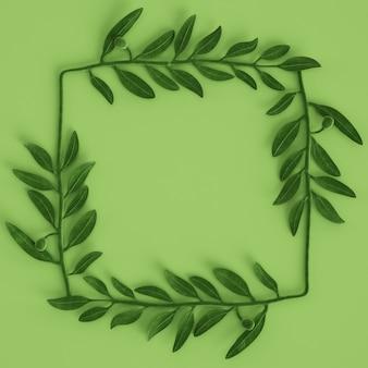 Escultura de rama de olivo verde sobre fondo verde pastel 3d rendering