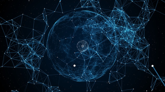 Esfera abstracta de puntos blancos conectados con líneas azules