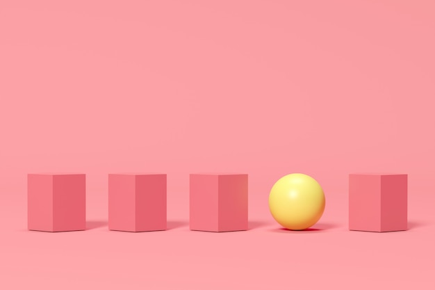 Esfera amarilla de ourstanding entre las cajas rosadas en fondo rosado. idea de concepto minimalista