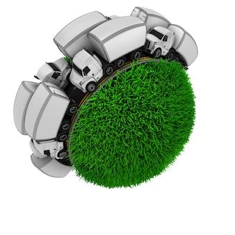 Esfera de hierba rodeada por una carretera