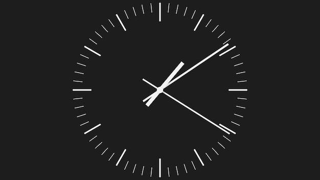 Esfera de reloj minimalista negra con agujas blancas