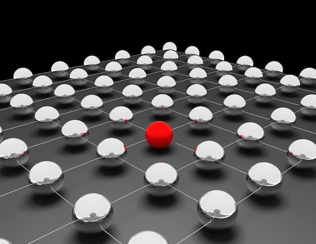 Esfera roja entre otros gris: concepto de redes e internet