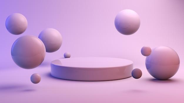 Esferas flotantes con podio