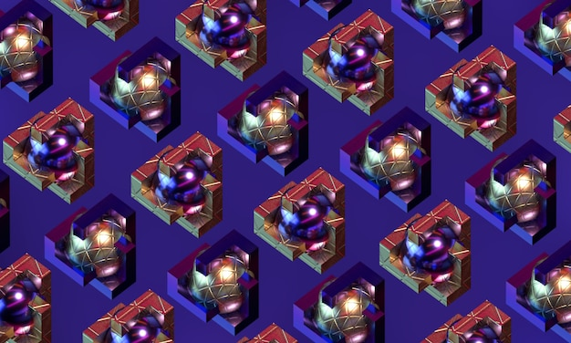 Esferas de metal entrelazadas con patrón de figuras geométricas doradas con fondo decorativo