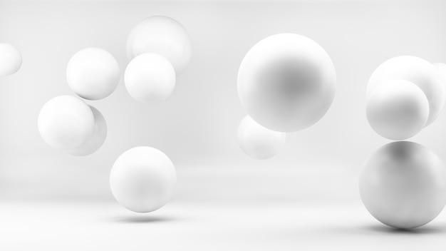Esferas mínimas blancas en renderizado 3d