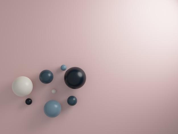 Esferas de renderizado 3d sobre fondo rosa