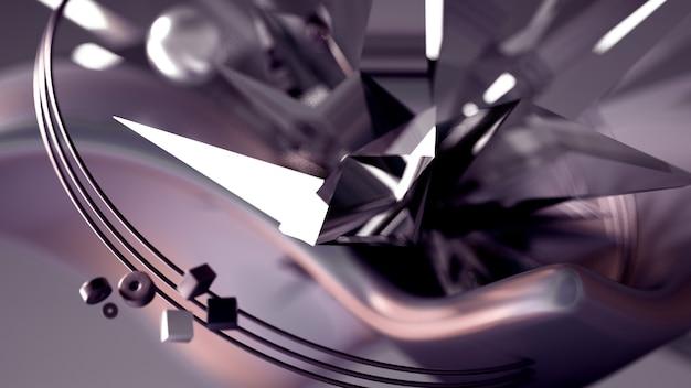 Esferas voladoras y cristales en movimiento render 3d