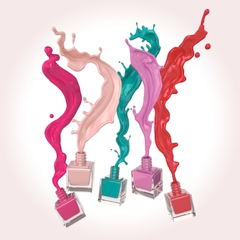 Esmalte de uñas colorido o chapoteo colorido de la pintura de la laca en el fondo blanco, ejemplo 3d.