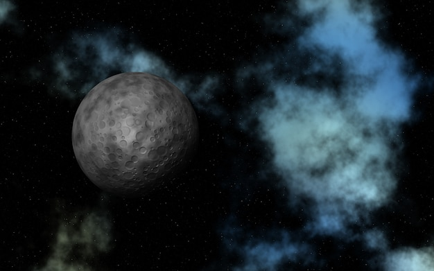 Espacio abstracto 3d con luna ficticia y nebulosa