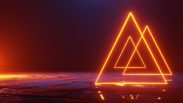 Espacio abstracto, triángulo de luz de neón, render 3d, concepto de universo, render 3d
