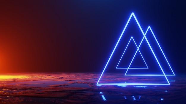 Espacio abstracto, triángulo de luz de neón, render 3d, render 3d