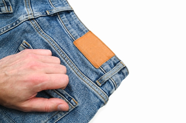 Espacio en blanco en la etiqueta de los jeans. foto de alta calidad