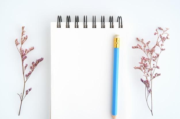 Espacio en blanco y pluma del cuaderno de la pantalla negra colocados en el fondo blanco.