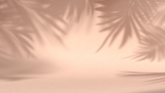 Espacio en blanco para producto cosmético en fondo natural pastel con hojas de sombra