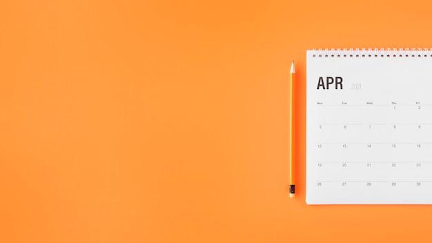 Espacio de copia de calendario planificador de vista superior