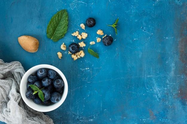 Espacio de copia de comida saludable por la mañana