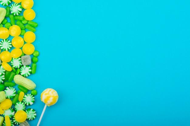 Espacio de copia de dulces y piruletas