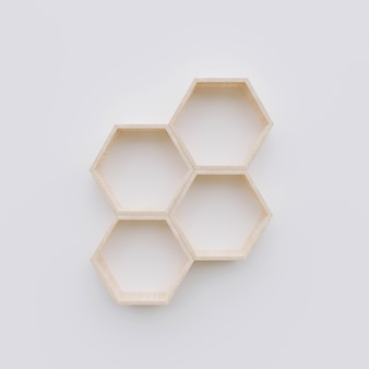 Espacio de copia de estante hexagonal, representación 3d de hexágono